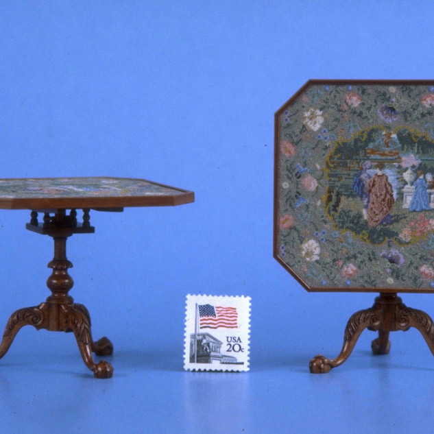 Needlepoint Top Game Table, swiss pearwood