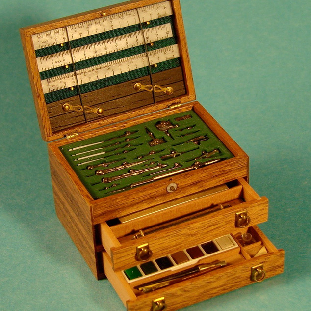 Architect's drawing instrument set with paint set, 1992