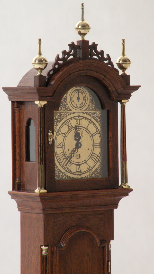 Elnathan Taber tall case clock, with mechanical swiss watch movement