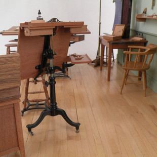 Architect's Office, detail, tables tilt and have rolling casters