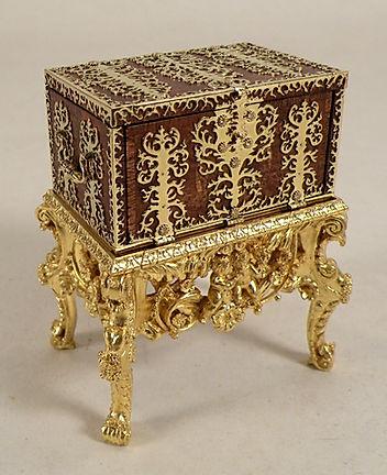 a 17th c. Dutch Strong Box, burl veneer