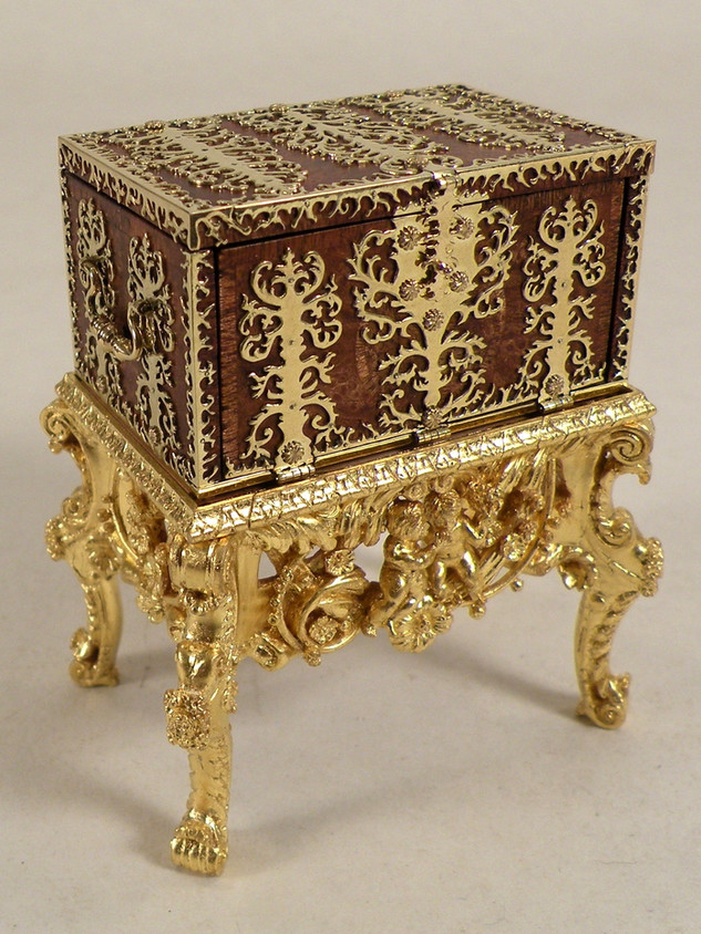 17th c. Dutch Strong Box on Stand. carved and gilt stand by Lloyd McCaffery