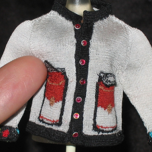 Pop Art Cardigan (Warhol I) 2007, front pocket opening