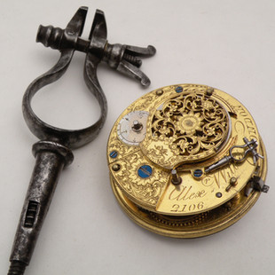 17th c. Hand vise, steel, with watch movement