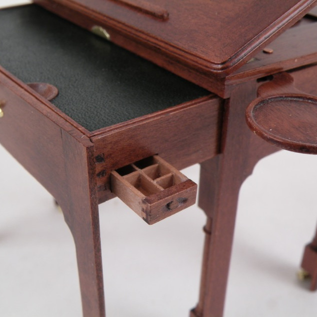 English Architect's Table, candle rests extended and ink drawer open