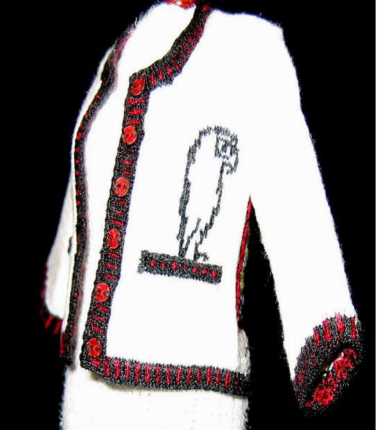 Picasso Cardigan, side view with owl on pocket
