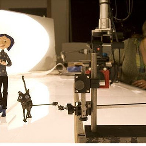 Coraline filming in the woods
