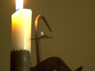 """Sticking Tommy (miner's candleholder), with """"Dancing Master"""" leg decoration"""