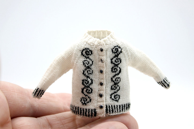 Celtic White and Black Cardigan