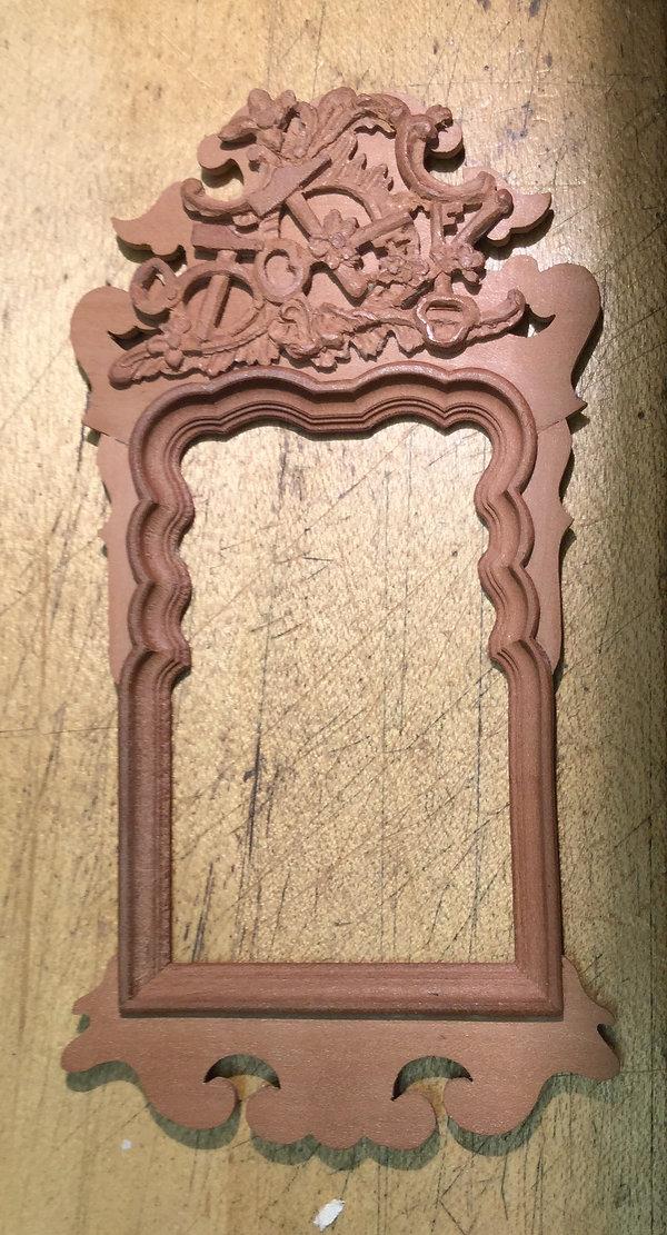 6 Danish Rococo mirror with locksmith's