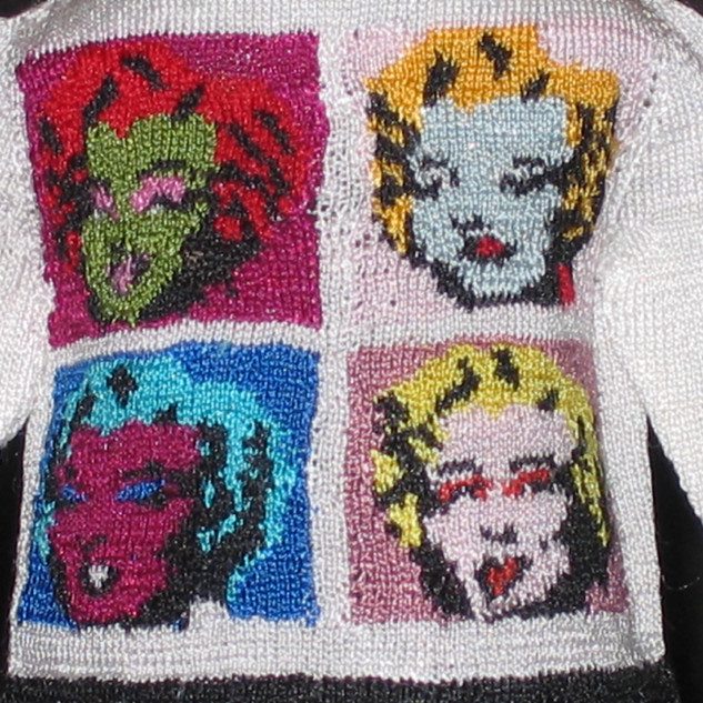 Pop Art Cardigan (Warhol I) 2007, Close-up View of Marilyn Fa