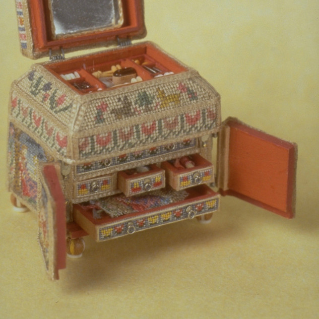 17th c. Needlepoint Casket, filled with sewing tools