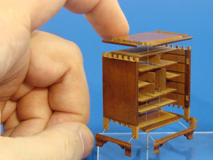 18th c. Chester County Spice Cabinet, exploded view showing dovetails