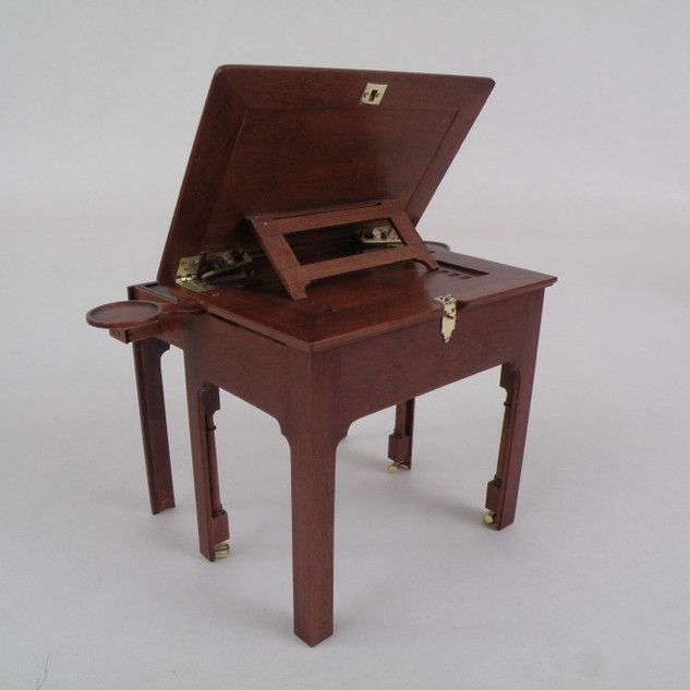 English Architect's Table, rachet mechanism to hold top up when raised