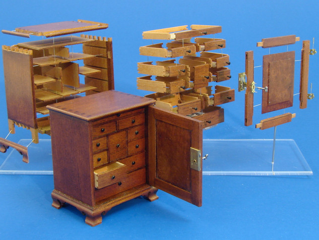 18th c. Chester County Spice Cabinet, cherry, swiss pear, brass, steel, 2000