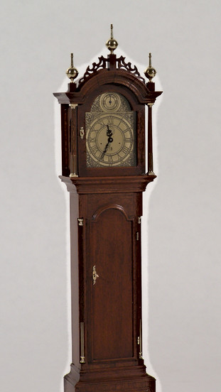 Elnathan Taber tall case clock, cherry & brass, 1978