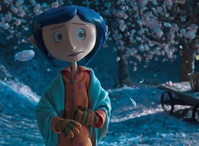 Coraline wearing gloves, in cherry trees
