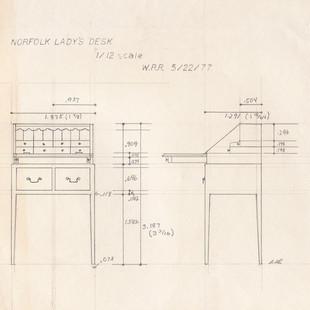 Norfolk Ladies Desk, drawing, 1977