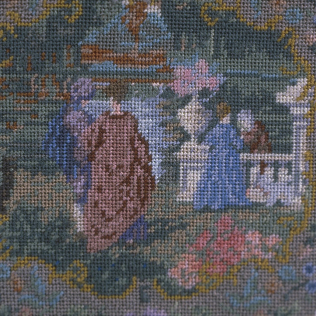 Needlepoint Top Game Table, needlepoint by Esther Robertson (Wm's mother), 60-count, 33,000 stiches