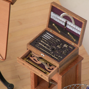 Architect's Office, detail of drawing instruments with engraved scales