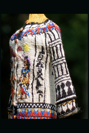 Ancient Egyptian Cardigan, Tut side with hyroglyphics