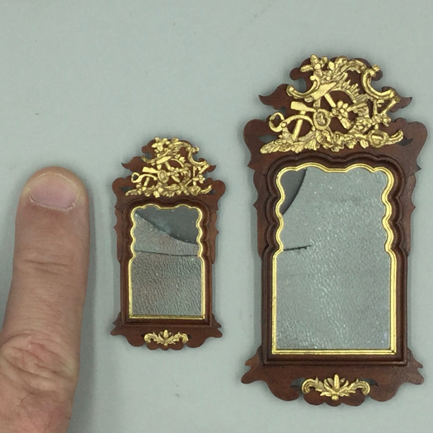 Danish Rococo mirror with locksmith's tools, swiss pearwood, 24k gold leaf, antique mirror glass, 2019