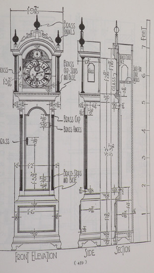 Elnathan Taber tall case clock, drawings from Wallace Nuttings book