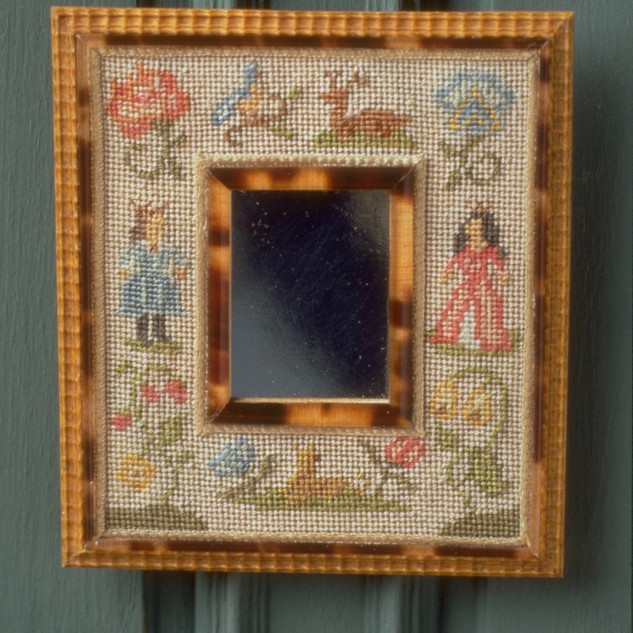 17th c. Mirror frame, boxwood, tortice shell, silk, nickle, needlework by Annelle Ferguson, 72 count