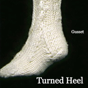 Cabled sock detail of heel and gusset