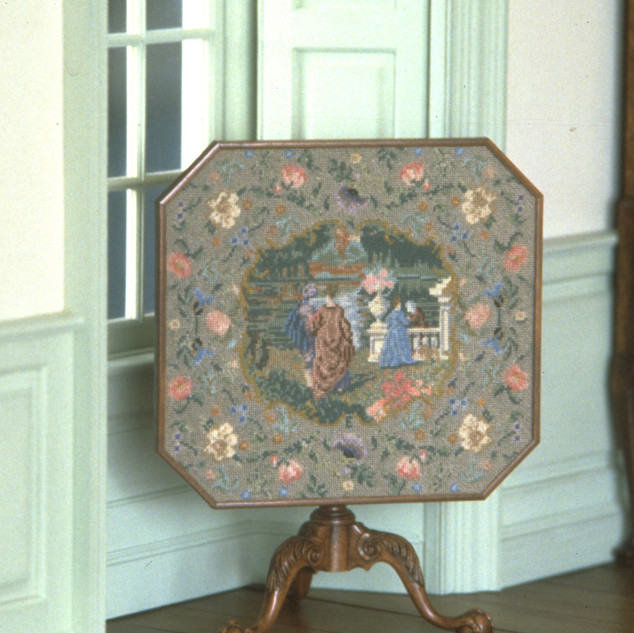 Needlepoint Top Game Table, swiss pearwood, brass, silk, 1982
