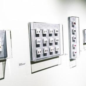 Museum Installation of Framed Knits
