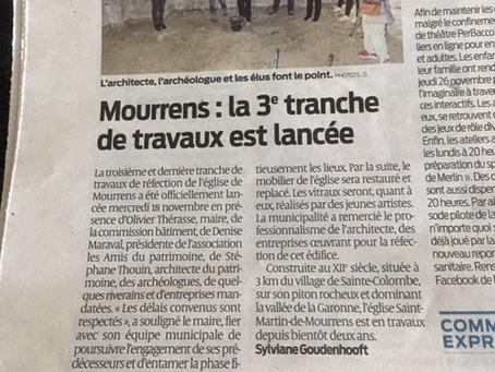 ÉGLISE DE MOURRENS LANCEMENT DE LA 3EME TRANCHE