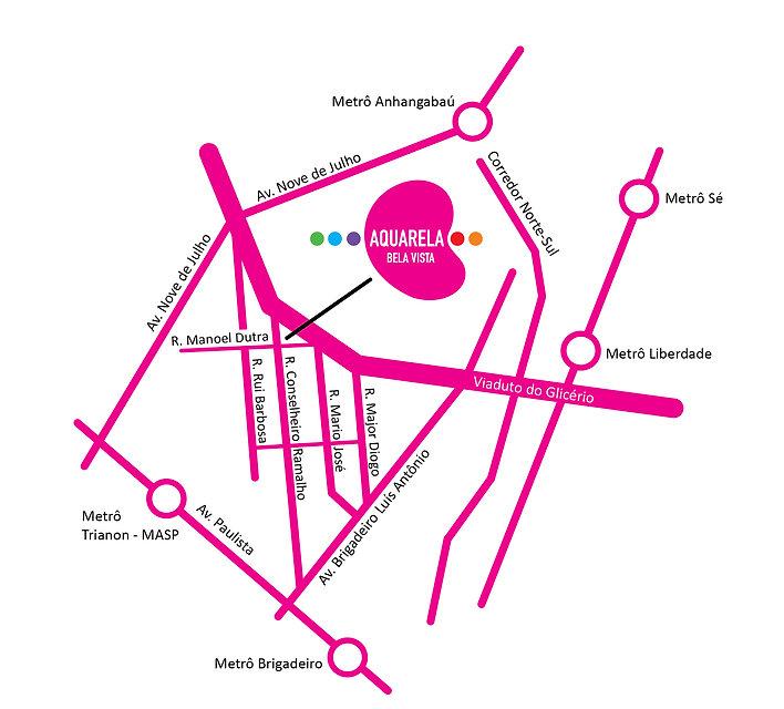 Mapa de localização do Aquarela Bela Vista, Minha Casa Minha Vida