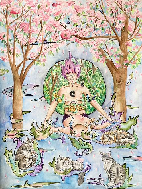 Surreal painting of woman sitting under cherry trees growing flowers. She is surrounded by floating cats, nature scene behind