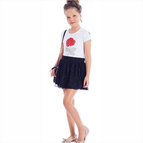 Cojunto blusa cotton e saia tule cosmic com short forro (ref. 10621)