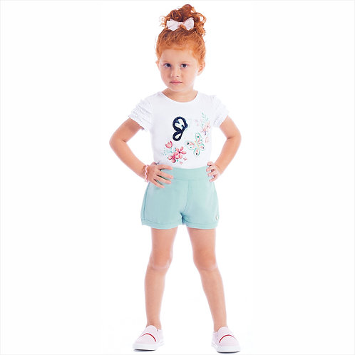 Conjunto blusa cotton e short linho (ref. 30333)