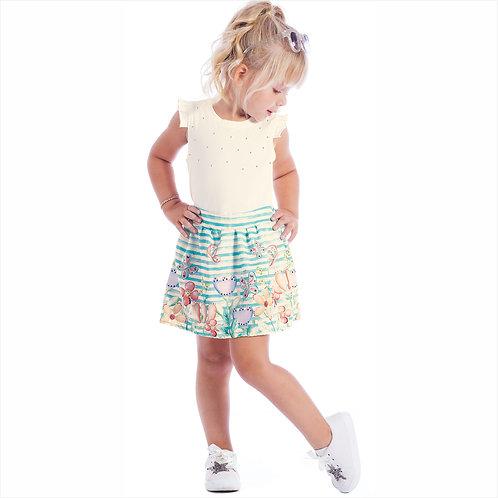 Conjunto blusa cotton e saia drome sublimado com short forro (ref. 30340)