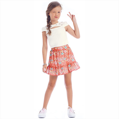 Conjunto blusa cotton e saia chiffon sublimado com short forro (ref. 10617)