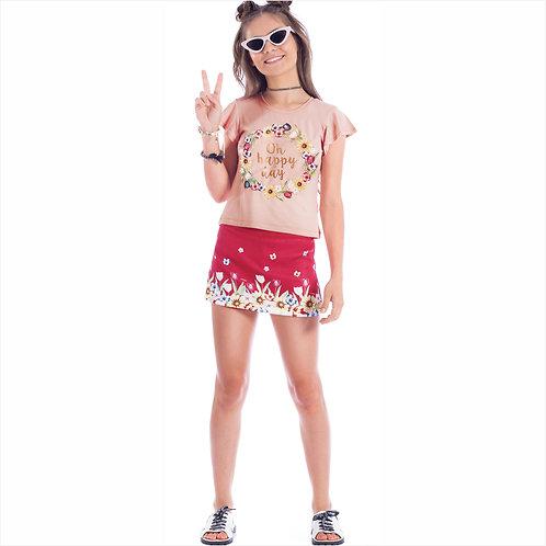 Conjunto blusa viscose e short - saia linho (ref. 40200)
