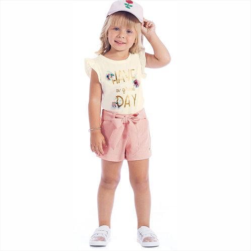 Conjunto blusa cotton e short linho (ref. 30334)