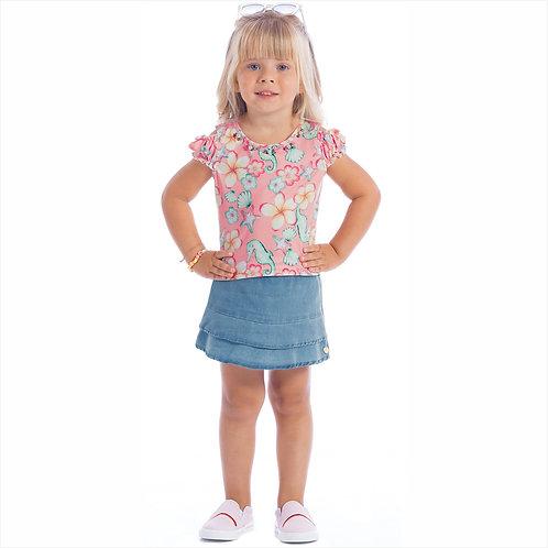 Conjunto blusa crepre sublimado e short - saia jeans (ref. 30336)