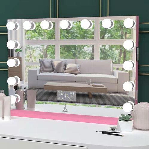 "Bonjour Pink Bluetooth Hollywood Mirror 42"""