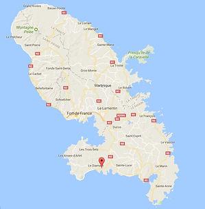 nos locations sur carte de la martinique