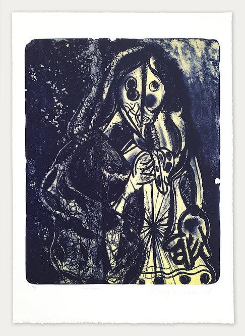 Femme à la banane (bleue et crème) - Rhys Lee