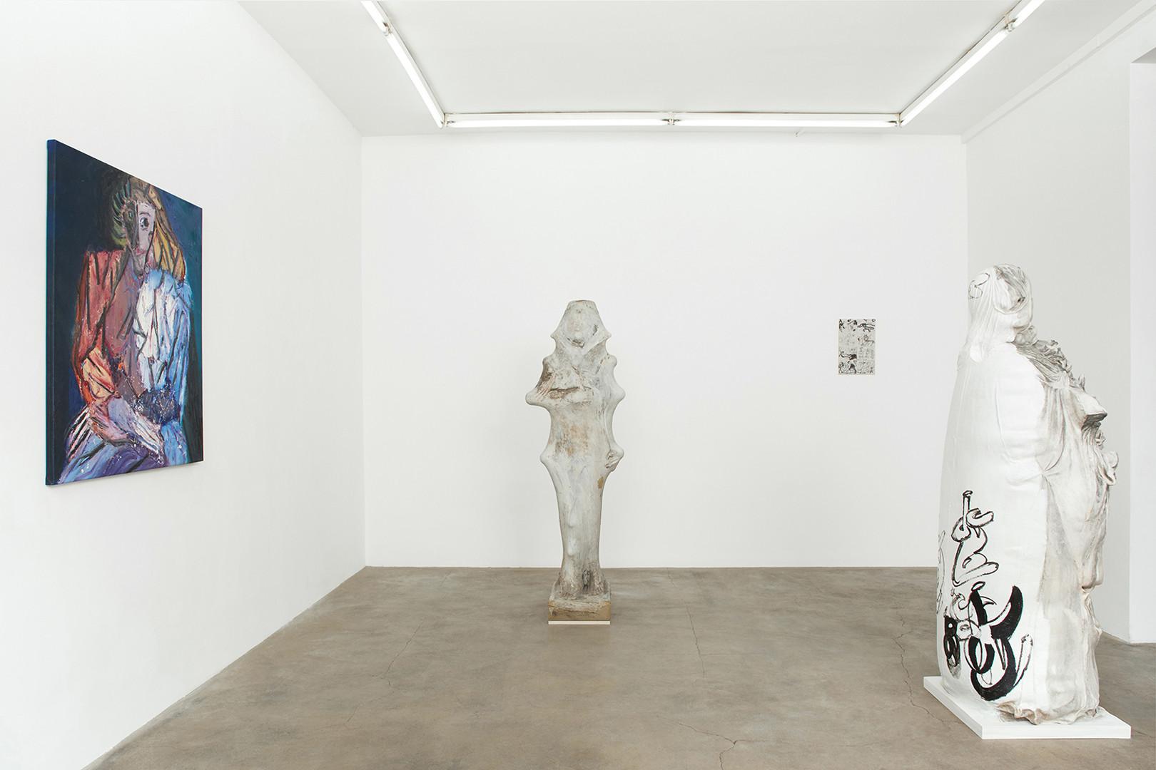 Galerie Julien Cadet Ken Sortais Rue du Canal Left : Rhys Lee's painting  © Credits photo : Thomas Marroni