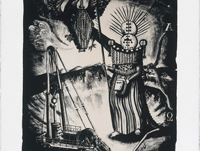 """The Chief Mourner and the last drops"" : first stone lithograph by Matthew Couper"