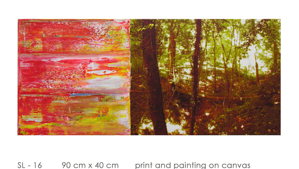SL - 16 90 cm x 40 cm  print and painting on canvas