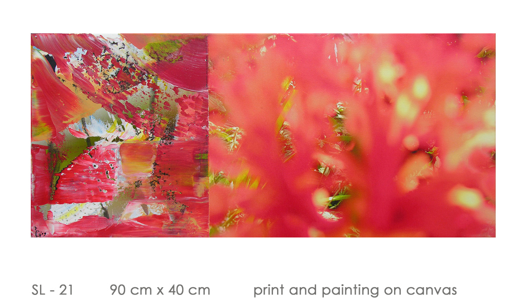 SL - 21 90 cm x 40 cm  print and painting on canvas