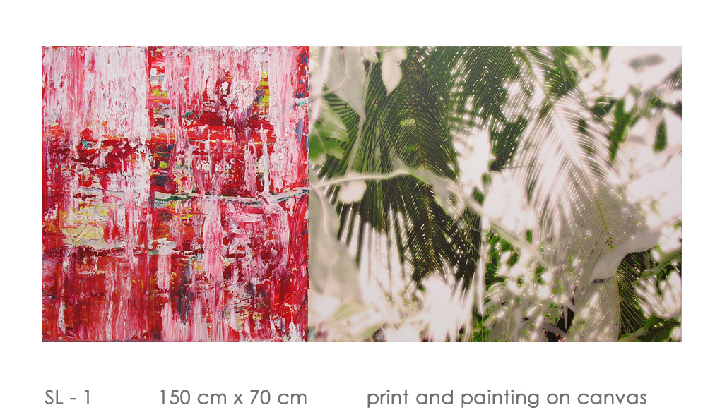 SL - 1 150 cm x 70 cm  print and painting on canvas