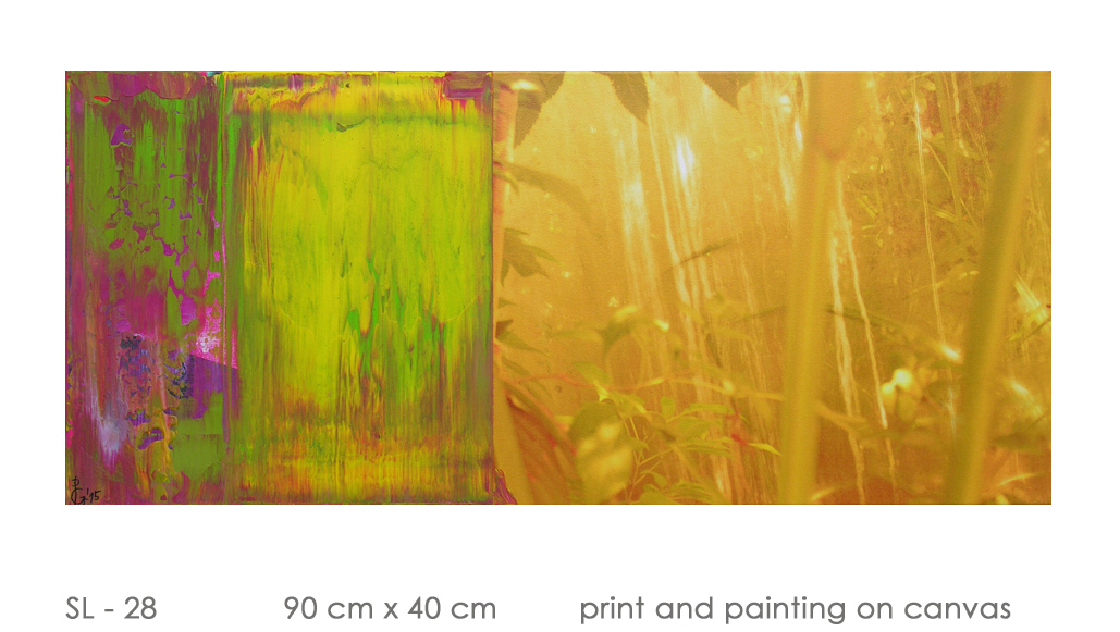 SL - 28 90 cm x 40 cm  print and painting on canvas